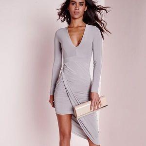 MissGuided Plunge Asymmetric Wrap Dress BRAND N/WT
